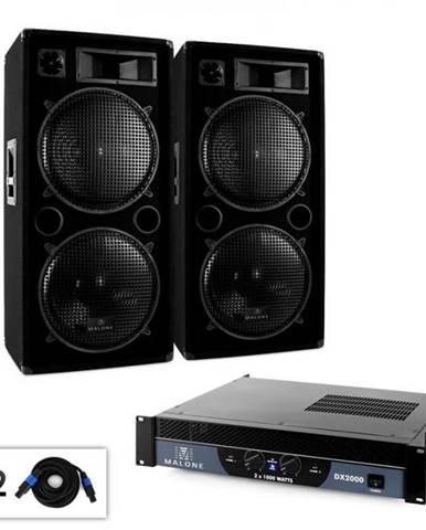 """Malone DJ PA sada 2.0 """"Bass"""" so zosilňovačom, reproduktorom & káblom, 2000 W"""