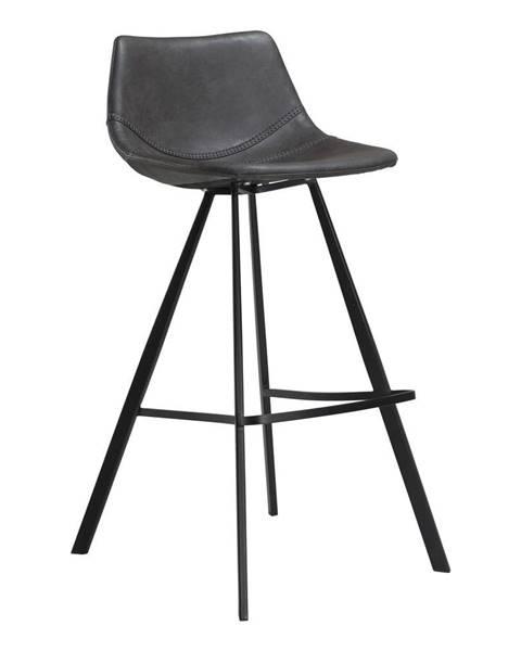 DAN-FORM Denmark Sivá barová stolička z eko kože s čiernou kovovou podnožou DAN–FORM Denmark Pitch, výška 98 cm