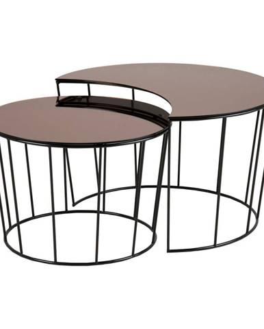 Súprava 2 konferenčných stolíkov v čierno-bronzovej farbe Actona Sunmoon