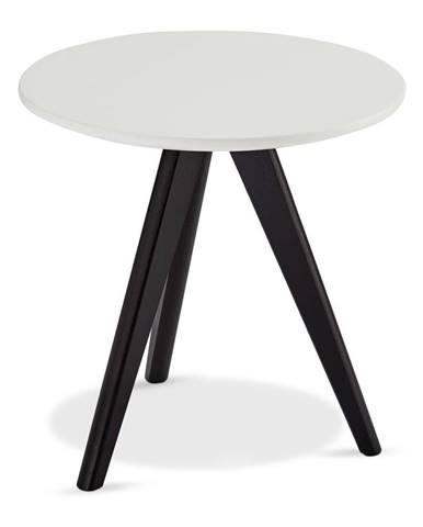 Čierno-biely konferenčný stolík s nohami z dubového dreva FurnhoLife, Ø 40 cm
