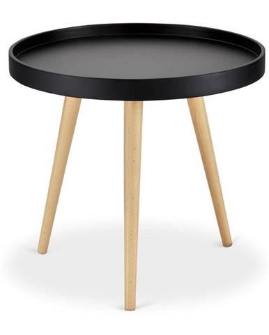 Čierny odkladací stolík s nohami z bukového dreva FurnhoOpus, Ø 50 cm
