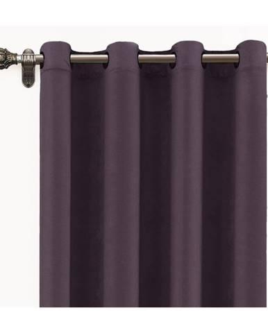 Tmavofialový záves zo zamatu Velvet Atelier, 140×260 cm