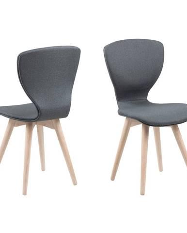 Tmavosivá jedálenská stolička s podnožím z dubového dreva Actona Gongli