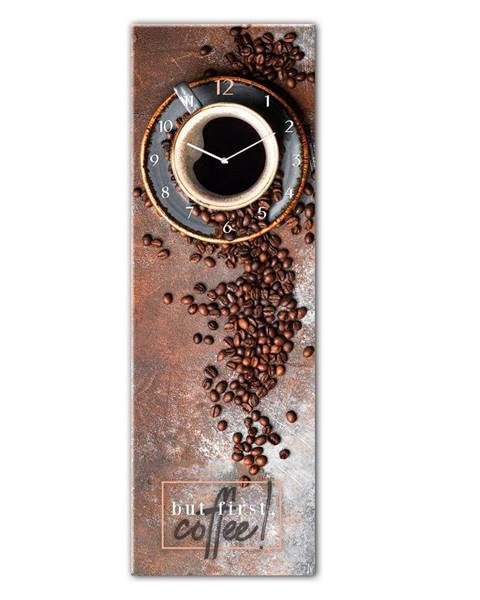 Styler Sklenené nástenné hodiny Styler First Coffee, 20 x 60 cm