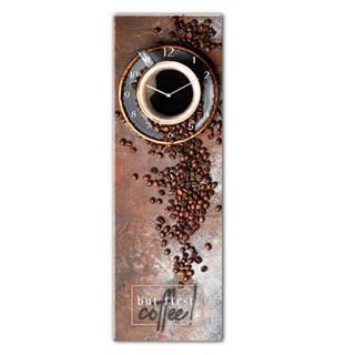 Sklenené nástenné hodiny Styler First Coffee, 20 x 60 cm