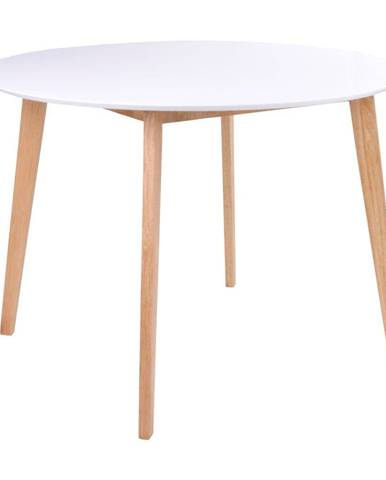 Jedálenský stôl s okrúhlou bielou doskou loomi.design Vojens, ⌀ 105 cm