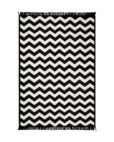 Čierno-biely obojstranný koberec Zig Zag 80×150 cm