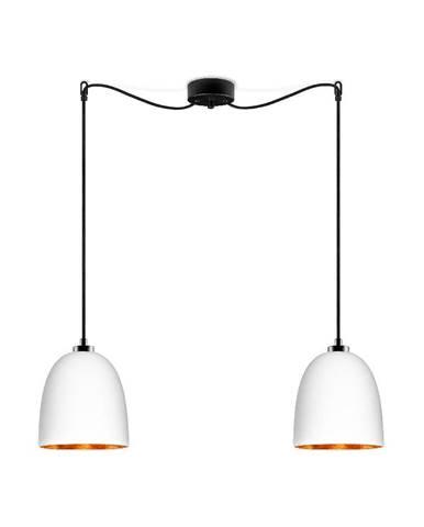 Biele dvojramenné závesné svietidlo s čiernym káblom s detailom v medenej farbe Sotto Luce Awa Matte