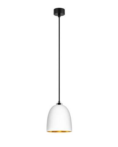 Biele závesné svietidlo s čiernym káblom a detailmi v zlatej farbe Sotto Luce Awa