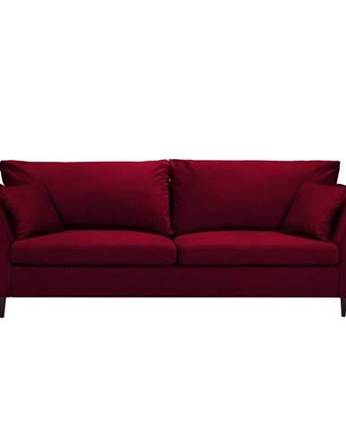 Červená rozkladacia pohovka s úložným priestorom Mazzini Sofas Pivoine