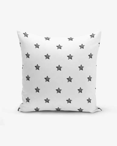 Čierno-biela obliečka na vankúš s prímesou bavlny Minimalist Cushion Covers White Background Star, 45×45 cm