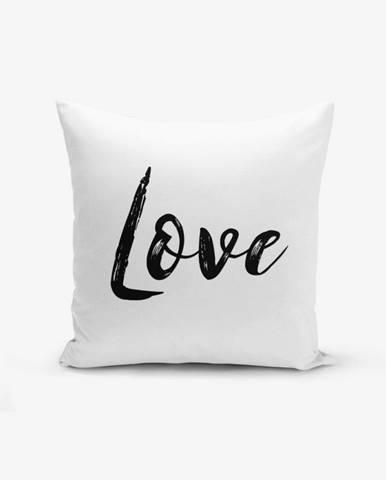 Obliečka na vankúš s prímesou bavlny Minimalist Cushion Covers Love Writing, 45×45 cm