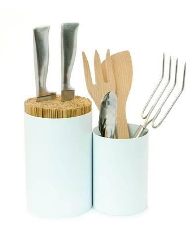 Biely blok na nože a kuchynské náčinie z bambusového dreva Wireworks Knife&Spoon