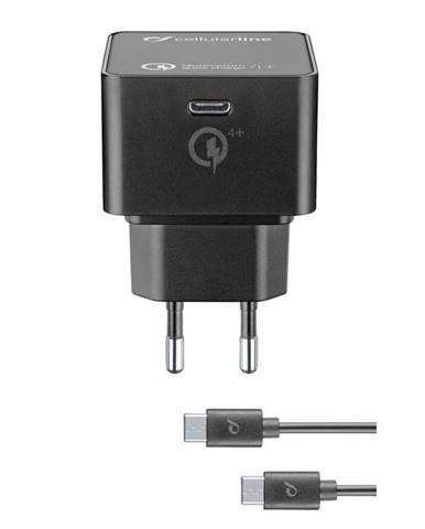 Nabíjačka do siete CellularLine USB-C PD, 30W, QC 4+, USB-C kabel