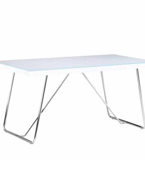 Kondela Jedálenský stôl tvrdené sklo/kov biela/chróm AMI