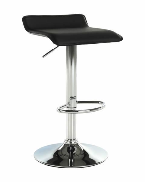 Kondela Barová stolička ekokoža čierna/chróm LARIA NEW