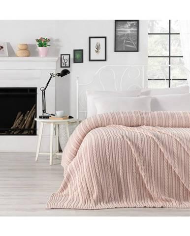 Svetloružová prikrývka cez posteľ Camila, 220 x 240 cm