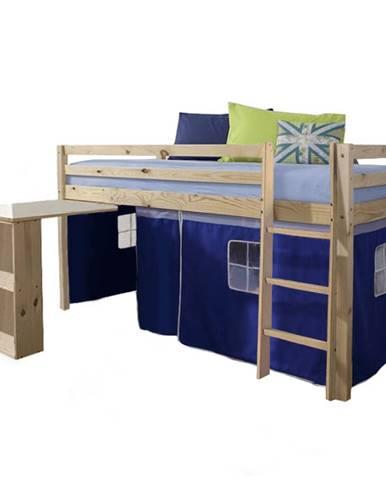 Posteľ s PC stolom borovicové drevo/modrá 90x200 ALZENA
