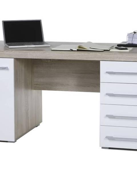 Sconto Písací stôl CUBE 39-002-68 dub sonoma/biela