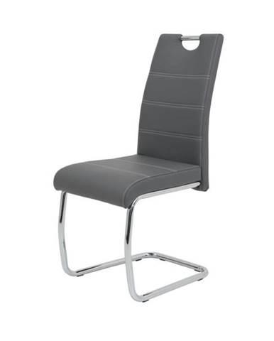 Jedálenská stolička FLORA S sivá, syntetická koža